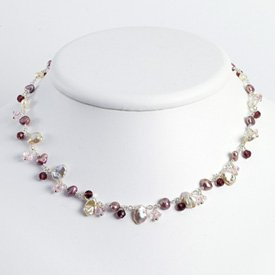 Pink AM Crystal Amethyst Wh. Cult. Pearl Necklace 16 Inch - Lobster Claw - JewelryWeb
