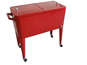 Permasteel PS-203-RED-2 Patio Cooler with Insulated Basin, 80-Quart, Red by Permasteel, Inc.