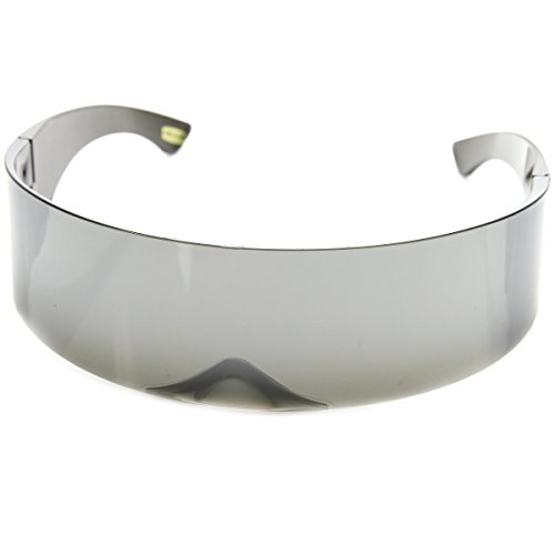 Futuristic Wrap Around Monoblock Shield Sunglasses (Mirror)