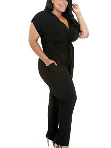 Foryingni Womenu0026#39;s Plus Size Wrapped V Neck Harem Jumpsuit ...