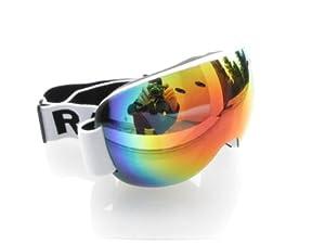 RAVS by Alpland Lunettes de Ski, de snowboard - Design Spécial sans monture - Verres 100% Rouge Or Laser Mirroir ! Compatible Casque Anti-brouillard Verre spériques doubles, convient aussi aux porteurs de lunettes.