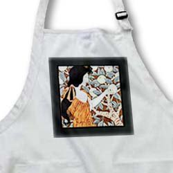 Florene Art Deco and Nouveau - Image of nouveau lady picking apples - Aprons - Full Length Apron with Pockets 22w x 30l