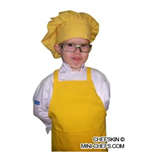 CHEFSKIN KIDS YELLOW MUSHROOM PUFFY CHEF HAT, ADJUSTABLE VELCRO, EXCELLENT PARTY FAVOR