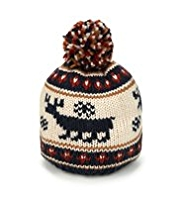 Reindeer Design Knitted Beanie Hat