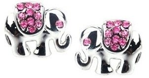 "Adorable Small 1/2"" Silver Tone Lucky Elephant Stud Earrings With Pink Crystal Accents For Girls, Teens And Women front-181905"