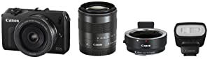 Canon Mirrorless interchangeable-lens camera EOS M double lens kit (Black) EOSMBK-WLK with EF-M 18-55mm F3.5-5.6 IS STM + EF-M 22mm F2 STM with 90EX Flash with Mount Adapter EF-EOS M - International Version (No Warranty) by Canon