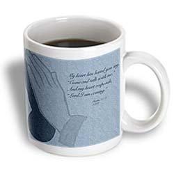 3dRose Illustrated Bible Verse Prayer Hands with Psalm 278 Ceramic Mug, 11-Ounce