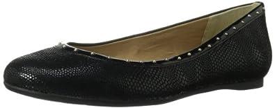 AK Anne Klein Women's Xandra Reptile Flat,Black/Black,5 M US