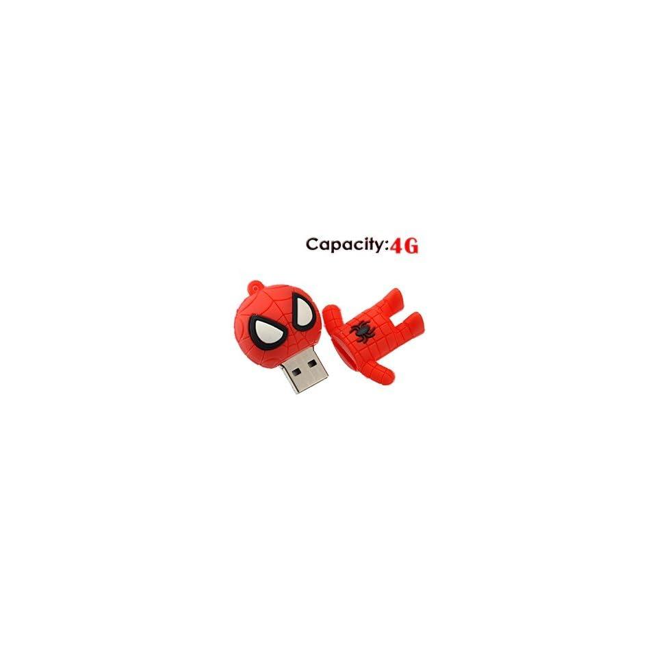 4G Small Cartoon Spider Man Shape Rubber USB Flash Drive (Red)
