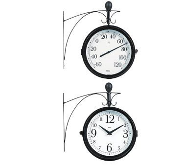 Springfield 91572 Dual Sided Outdoor Thermometer and Clock with Wall Bracket