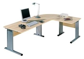 BASIC-II Bureau à piétement en L - largeur 1600 mm façon hêtre - bureau bureaux mobilier de bureau poste informatique postes informatiques pupitre pupitres table de bureau tables de bureau BASIC II, mobilier de bureau Bureau Bur