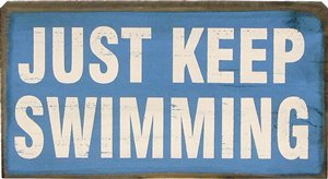 My Word 5.5 by 10-Inch Block Sign, Keep Swimming