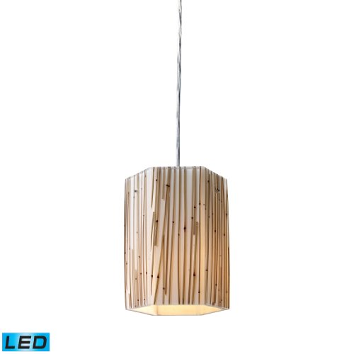 Modern Organics-1-Light Pendant In Bamboo Stem Material In Polished Chrome - Led Offering Up To 800 Lumens (60 Watt Equivalent) With Full Range Dimming. Includes An Easily Replaceable Led Bulb (120V).
