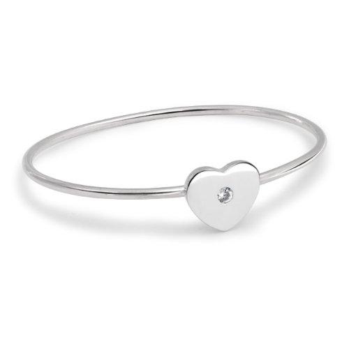 Bling Jewelry 925 Sterling Cubic Zirconia Modern Heart Catch Bangle Bracelet 7in