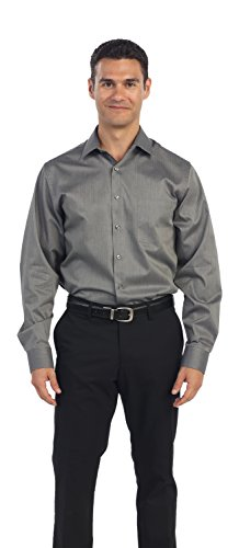 "Kenneth Cole Reaction Men's Textured Solid Dress Shirt, Black, 17.5"" 34-35"