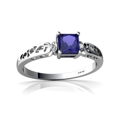 Created Sapphire 14ct White Gold Filligree Ring