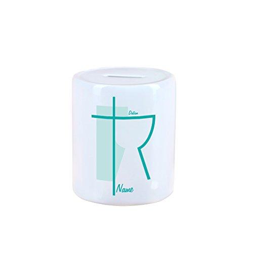 geschenke-online Spardose mit Namen und Datum zur Taufe / Kommunion / Konfirmation