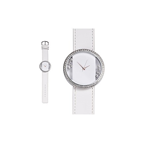 Orologio Cristallo Swarovski Elements Bianco e Pelle Bracciale Bianco - Blue Pearls - CW 0015 C BLANC