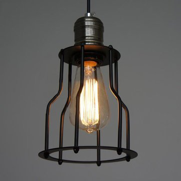 Vintage Iron Cage Chandelier Retro Edison Light Pendant Lamp 85-265V AC