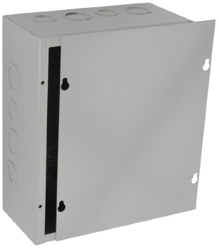 "Bud Industries Jb-3958-Ko Steel Nema 1 Sheet Metal Junction Box With Knockout And Lift-Off Screw Cover, 8"" Width X 10"" Height X 4"" Depth, Gray Finish"