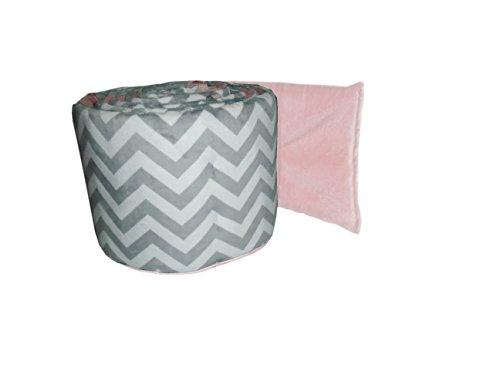 Baby Doll Minky Chevron Crib Bumper, Pink