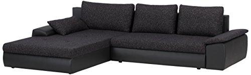 Cavadore-885-Polsterecke-Peerly-Longchair-links-2-Sitzer-mit-Bettfunktion-und-Bettkasten-rechts-309-x-82-x-213-cm-Sitz-in-Vilnius-schwarz-Korpus-in-Poroflex-Softy-schwarz
