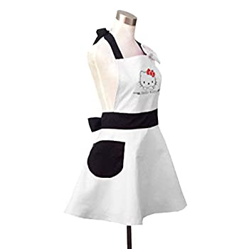 Lovely Hello Kitty White Retro Kitchen Aprons for Woman Girl Cotton Cooking Salon Pinafore Vintage Apron Dress