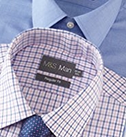 2 Pack Easy Care Plain & Checked Shirt with Tie