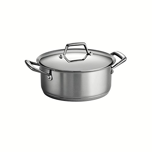 Tramontina Gourmet Prima 18/10 Stainless Steel Tri-Ply Base Covered Sauce Pot, 6-Quart, Silver