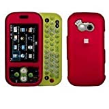 Fits LG GT365 Neon Etna AT&T Snap on protector Faceplate Cover Housing Case - Solid Red Rubber Feel