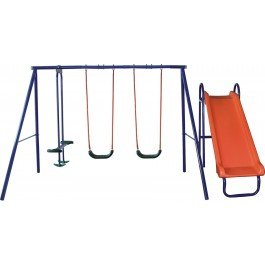 Five station kids swing set with slide and seesaw amazon for T shaped swing set