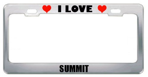 I Love Summit Nj City Country Stainless Steel Metal License Plate Frame Tag Border