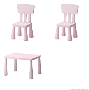 Ikea's Mammut Children's Table, Light Pink and Mammut Children's Chair, Light Pink (2 Pack) from Mammut