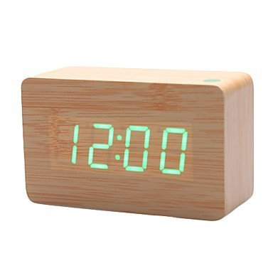 KABB Light Brown Wood Grain Green LED Light Alarm Clock – Time Temperature – Sound Control – Latest Generation(USB/3xAAA)
