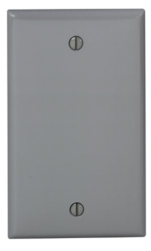 Leviton 80714-GY 1-Gang No Device Blank Wallplate, Standard Size, Thermoplastic Nylon, Box Mount, Gray