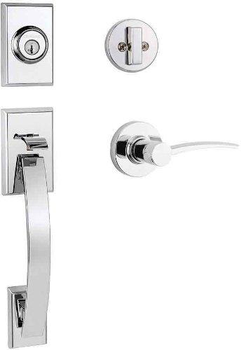 Kwikset Tavaris Single Cylinder Handleset W/Katara Lever Featuring Smartkey® In Polished Chrome front-819152