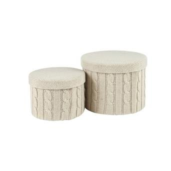 Knitted Cream Wool Set of 2 Lidded Storage Boxes with Lids