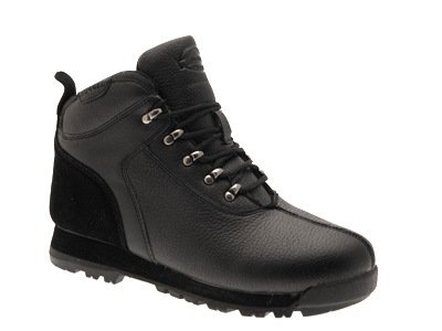 MENS BOYS FAUX LEATHER LACE UP ANKLE WALKING HIKING ANKLE BOOTS SCHOOL SHOES BLACK 7-12 adult