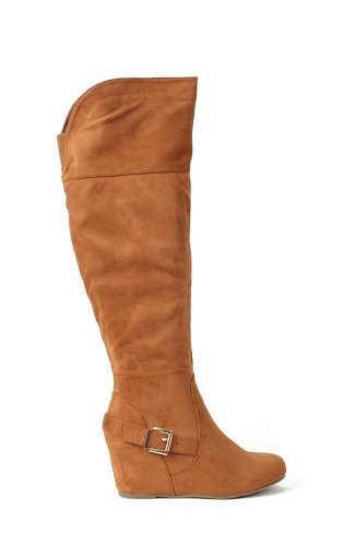 Nature Breeze Irma Suede Knee High Buckled Wedge Boot - Camel Suede