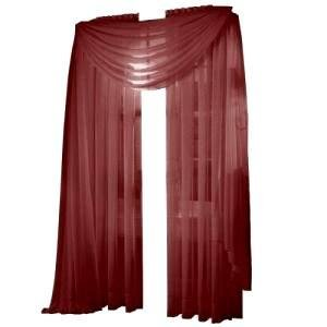 HLC.ME Voile Sheer Curtain Burgundy 216 in. Scarf at Sears.com