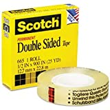 """3M 665 Double-Sided Tape, 1/2"""" x 900"""" - Clear"""