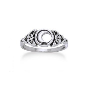 Sterling Silver Celtic Trinity Knot and Crescent Moon Ring