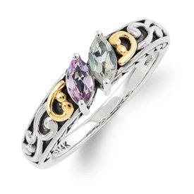 Genuine IceCarats Designer Jewelry Gift Sterling Silver & 14K Two-Stone Mother's Ring Mounting Size 5.00