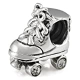 Roller Derby Skate Solid Sterling Silver Charm, OHM is Compatible with Other european bracelets