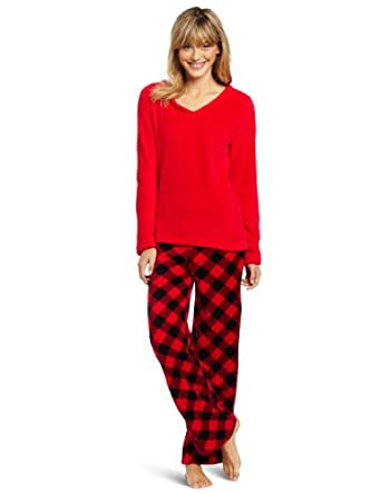 Sweet Juniors Buffalo Check Print Pant Set, Red/Black, Small