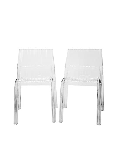 Baxton Studio Set of 2 Minotti Chairs, Clear