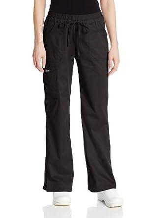 Cherokee Women's Petite Workwear Scrubs Core Stretch Jr. Fit Low Rise Cargo Pant, Black, 2X-Small-Petite