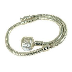 Charm Buddy © 20cm Silver Plated Love Snap Clasp Charm Bracelet Fits Pandora, Troll, Chamilia Charms, Beads, Spacers