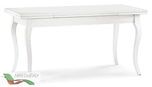 Tisch-Shabby-wei-matt-160240-x-85-H78-mit-2-Verlngerungen-und-sbelbeine