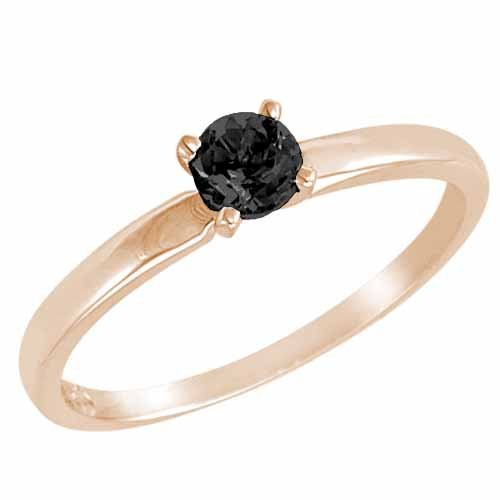 Ryan Jonathan Solitaire Black Diamond Ring in 14K White Gold (4.5 mm)